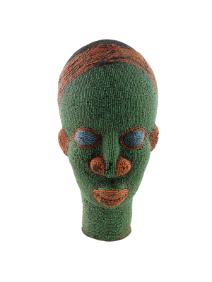 African Beaded Clay Head Sculpture Green