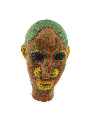 African Beaded Clay Head Sculpture Green-Orange
