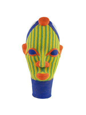 African Beaded Clay Head Sculpture Green-Yellow Striped