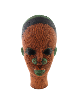African Beaded Clay Head Sculpture Orange