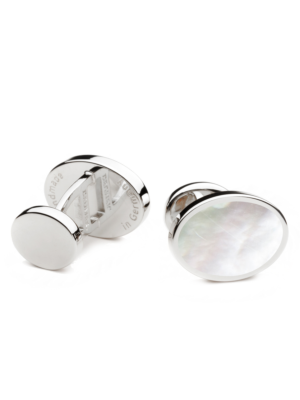 Deumer Cufflink oval with Mother of Pearl White