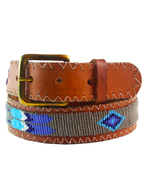 Aspiga Multicolored Beaded Leather Belt Feather