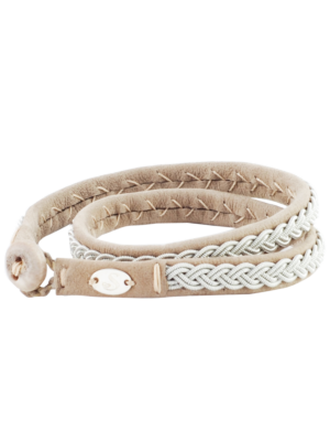 Saami Crafts Leather Bracelet Double Wrapped in Beige