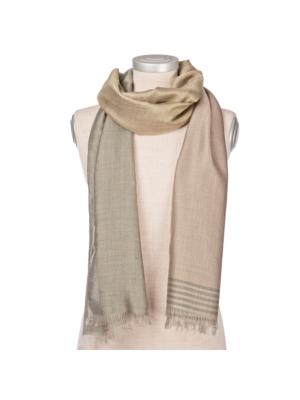 Lanificio Colombo Cashmere-Silk Scarf Green-Beige Striped