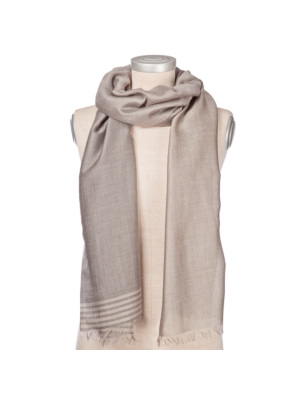 Lanificio Colombo Cashmere-Silk Scarf Grey-Beige Striped