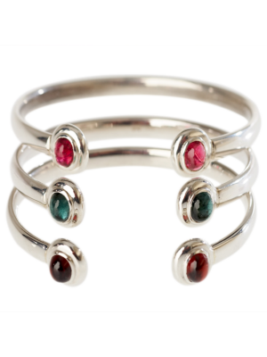 Torhaus Silver Bangle with Two Tourmaline or Garnet Cabochons