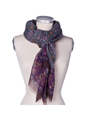 Drakes Wool Cashmere Scarf Flowers with Paisley
