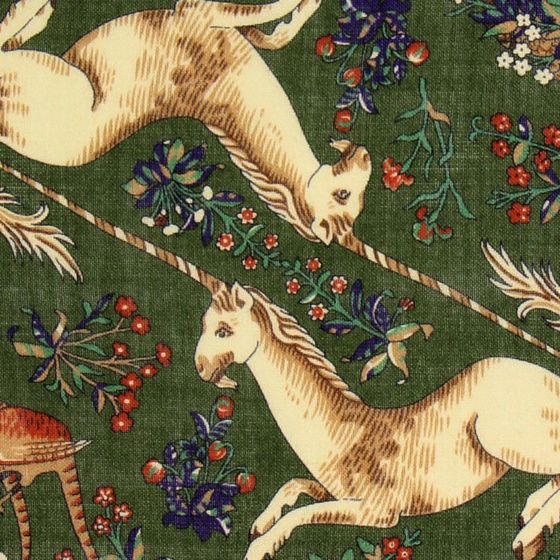 Drakes Pocket Square Unicorn green-yellow