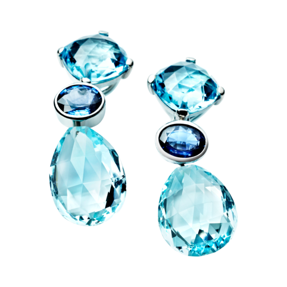 Platinum Earrings with Sapphire and Topaz by RenéSim