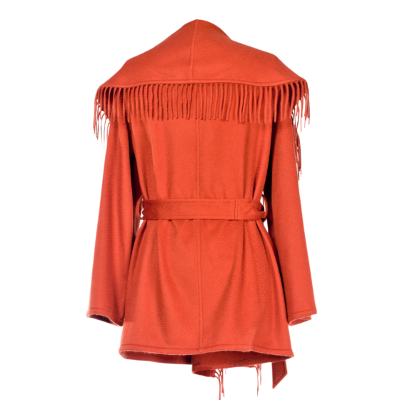 Lanificio Colombo Cashmere Jacket with Fringes Rust