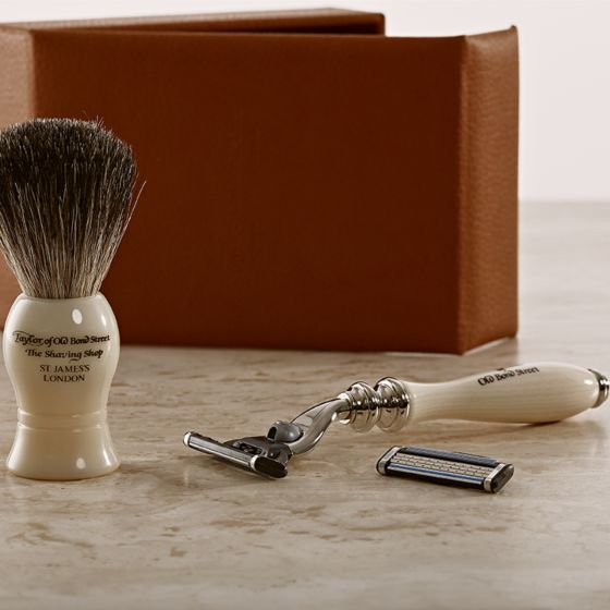 Taylor of Old Bond Street Travel Shaving Set Tan