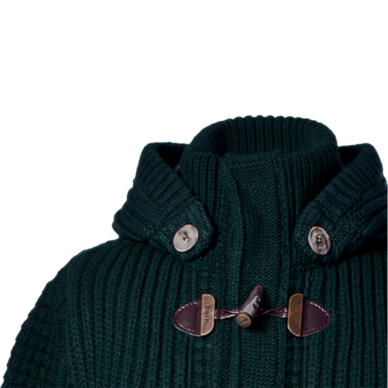 Bark Gents Duffle Coat Knitted Loden Green
