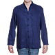 Moroccan men's shirt with decorative stitching blue XL