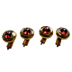 Torhaus Gold Tuxedo Studs with Red Garnet Cabochons