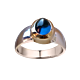 Torhaus Silver Ring with Oval Blue Green Tourmaline Cabochon in Gold Setting