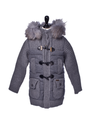 Bark Duffle Coat for Kids with Down Filling Knitted and Quilted, Detachable Hood with Raccoon Fur Trimming, Grey