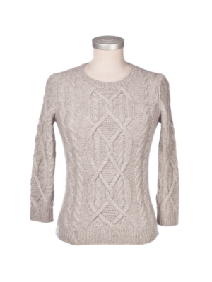 Lanificio Colombo Cashmere Round Neck Cable Stitch Pullover