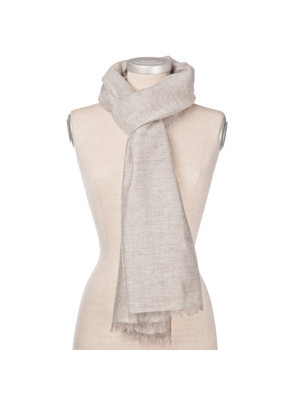 Lanificio Colombo Cashmere Scarf Light Grey, with slim Lurex silver stripes