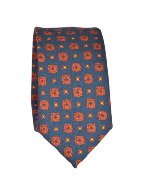 Drakes Wool Tie Blue With Orange