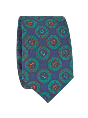 Drakes Tie blue-green Silk Print with Madder