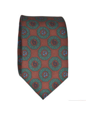 Drakes Tie auburn-green Silk Print with Madder