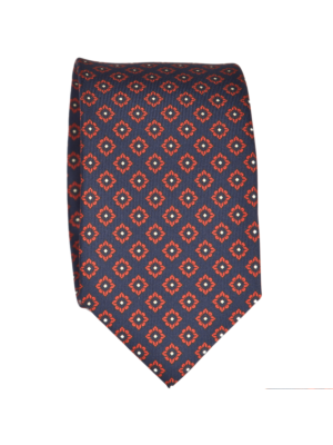 Drakes Tie blue-orange Silk Print Foulard
