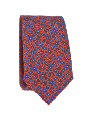 Drakes Tie Wool Printed Floral Pattern Orange