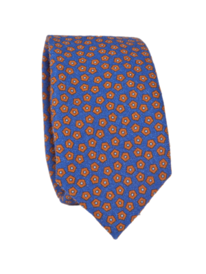 Drakes Tie Wool Printed Pentagon Pattern Dark Blue