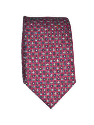 Drakes Tie Silk Print with Foulard Bordeaux