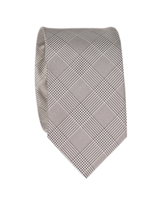 Drakes Silk Tie Checkered Black White