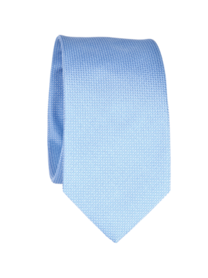 Drakes Silk Tie Jaquard Light Blue White