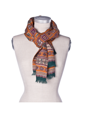 Drakes Wool Silk Scarf Square Pattern