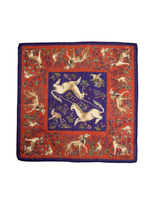 Drakes Wool Silk Pocket Square Unicorn