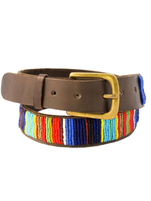 Aspiga Multicolored Beaded Leather Belt