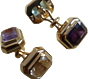 Torhaus Gold Cuff Links with Octagonal Faceted Berg Crystal and Amethyst