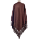 Lanificio Colombo Cashmere Cape with Embroidery Dark Brown