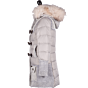 Bark Dufflecoat for Kids Quilted and Knitted, in Light Grey, down filling, detachable hood with raccoon trimming