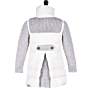 Bark Duffle Coat for Kids Knitted and Quilted Off-White and Light Grey, with Stand-Up Collar