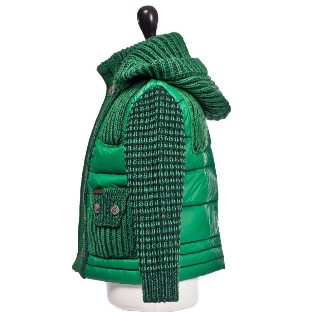 Bark Duffle Coat For Kids Quilted And Knitted With A Detachable Hood Green