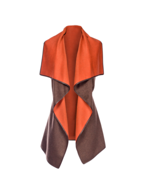 Lanificio Colombo Cashmere Cape Vest Brown-Orange