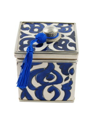 Ceramic Box with Oriental Pattern Blue