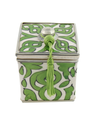 Ceramic Box with Oriental Pattern Green