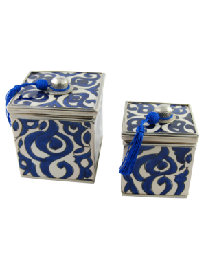 Ceramic Box Set with Oriental Pattern in Blue