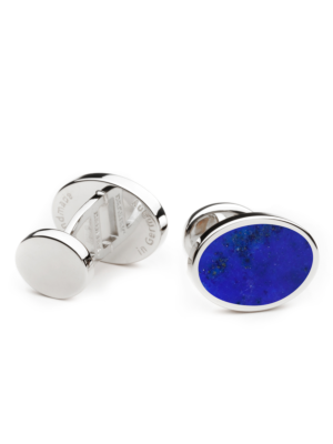 Deumer Cufflink oval with blue Lapis Pyrite