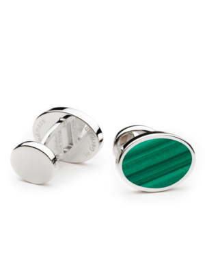 Deumer Cufflink oval with green Malachite