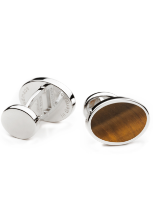 Deumer Cufflinks Oval Eye Of Tiger silver