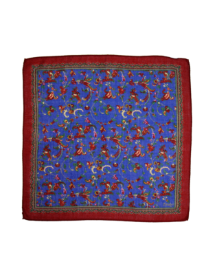 Drakes Pocket Square Flowers red-blue