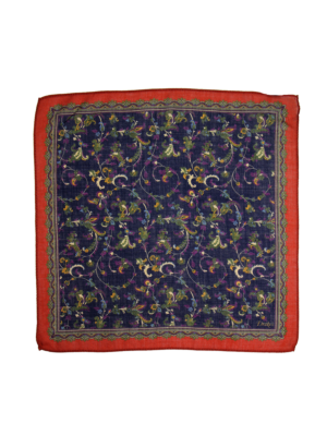 Drakes Pocket Square Flowers rust-navy