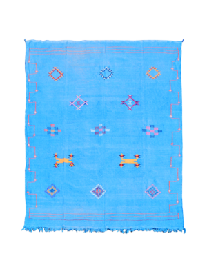 Kelim Moroccan Rug Light Blue