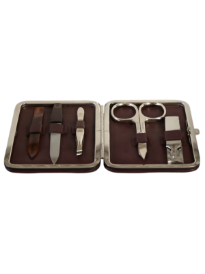 Taylor of Old Bond Street Leather Manicure Set with Metal Frame